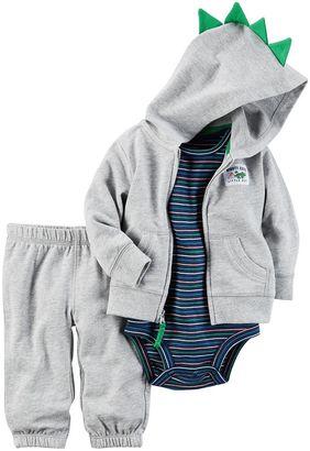 Baby Boy Carter's Dinosaur Cardigan, Bodysuit & Jogger Pants Set $30 thestylecure.com