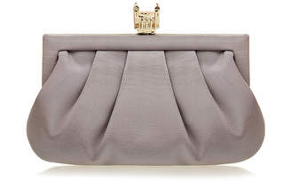 Wilbur & Gussie Margot Pewter Grey Tower of London Silk Clutch Bag
