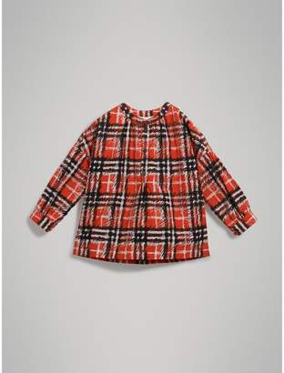 Burberry Scribble Check Print Cotton Tunic Shirt