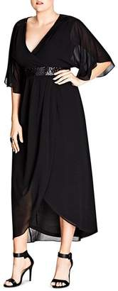 City Chic Plus Embellished Faux-Wrap Maxi Dress