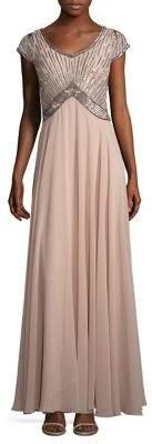 J Kara Petite Beaded Chiffon Gown