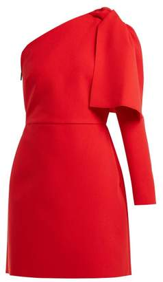 MSGM Bow Detail Crepe Mini Dress - Womens - Red