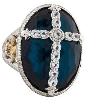 Jude Frances Synthetic Blue Quartz & Topaz Cocktail Ring