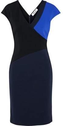 Diane von Furstenberg Wrap-Effect Color-Block Stretch-Jersey Dress