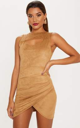 PrettyLittleThing Tan Faux Suede Ruched Mini Dress