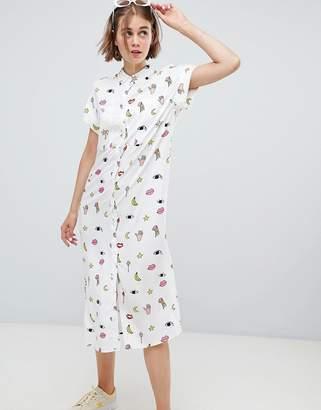 Monki Multi Print Shirt Dress In White