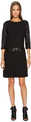 The Kooples Dress with Leather Details and Pleated Skirt Women's Dress