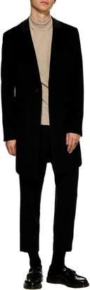 Topman Classic Fit Wool Blend Overcoat