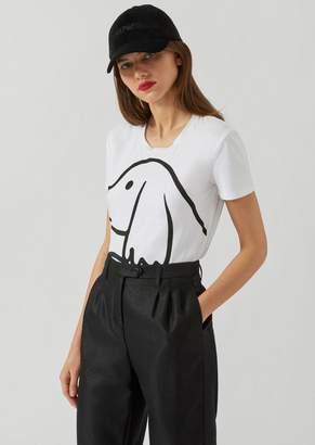 Emporio Armani Jersey T-Shirt With Puppy Print And Rhinestone Embellishment