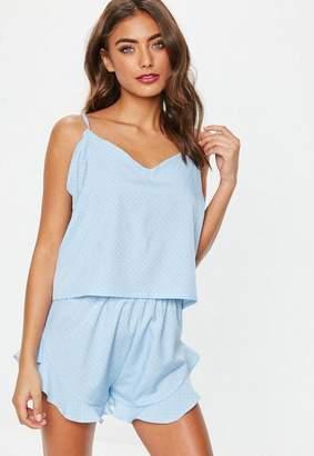 Missguided blue polka dot woven cami pyjama set, Blue