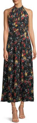 Derek Lam Sleeveless Ruched-Waist Floral-Print Long Silk Dress