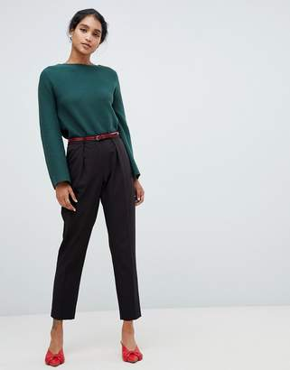 Oasis peg pants with snake print belt in black