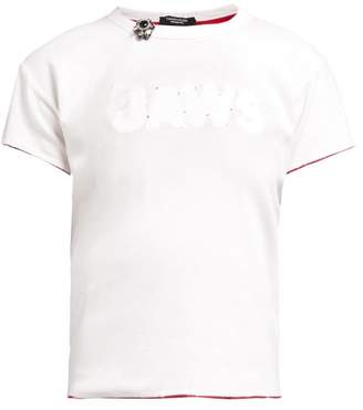 Calvin Klein Distressed Jaws Stitched Cotton T Shirt - Womens - White