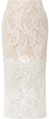 Stella McCartney Wool-blend Guipure Lace Midi Skirt - Ivory