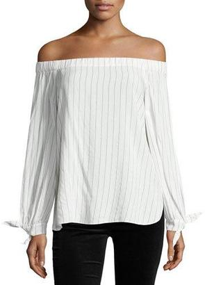 Bailey 44 Even Keel Striped Off-the-Shoulder Top, White/Blue $148 thestylecure.com
