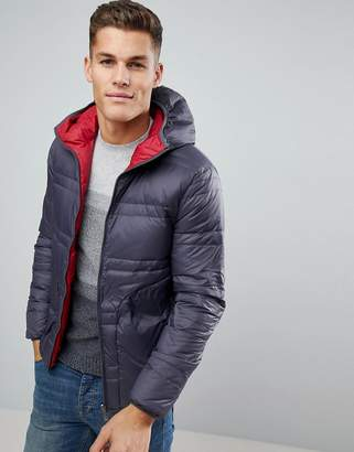 Benetton Reversible Down Padded Jacket With Hood In Gray/Red