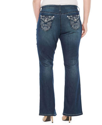 Boutique + + Embellished Back Pocket Bootcut Jean - Plus