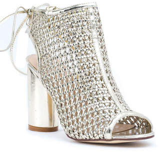 GC SHOES GC Shoes Womens Miami Peep Toe Block Heel Lace-up Pumps