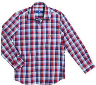Stefano Ricci Boys' Checked Long-Sleeve Shirt, Size 6-14