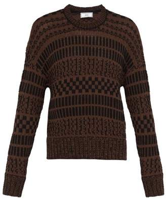 Jacquard Knit Cotton Blend Sweater - Mens - Brown Multi