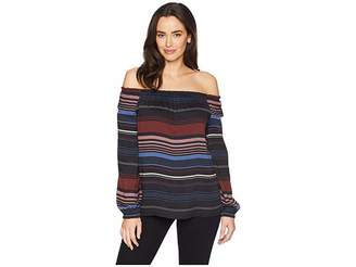 Tribal On and Off Shoulder Long Sleeve Blouse