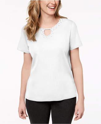 Alfred Dunner Embellished Keyhole T-Shirt
