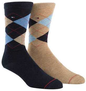Tommy Hilfiger Mens Two-Pair Argyle Crew Socks