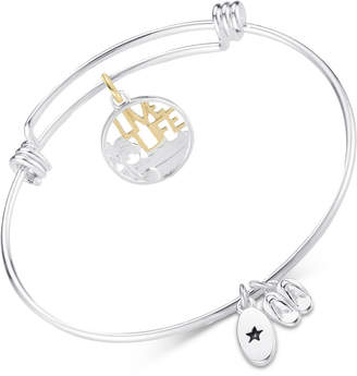 "Unwritten Live Life"" Beach Theme Adjustable Bangle Bracelet in Two-Tone Stainless Steel"