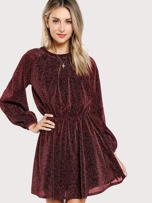 Shein Slit Button Back Glitter Blouson Dress