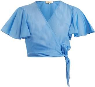 Diane von Furstenberg Flutter-sleeve cotton and silk-blend top