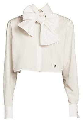 Fendi Women's Bow-Detail Monogrammed Crop Blouse