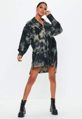 Missguided Black Oversized Acid Wash Shirt Dress