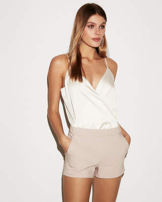 Express Petite Satin Surplice Thong Bodysuit