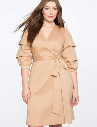 ELOQUII Tucked Puff Sleeve Wrap Dress