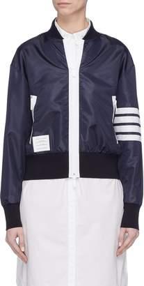 Thom Browne Stripe sleeve ripstop bomber jacket