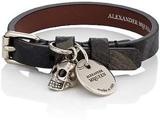 Alexander McQueen Men's Camouflage Leather Wrap Bracelet - Olive