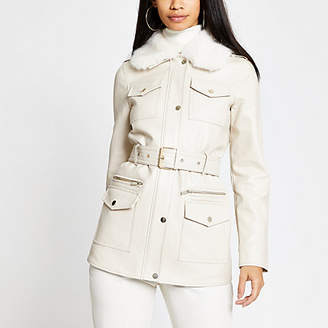 River Island Cream faux leather utility army jacket