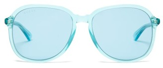 Gucci Round Frame Acetate Sunglasses - Womens - Light Blue