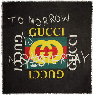 Gucci Black Tomorrow Logo Shawl
