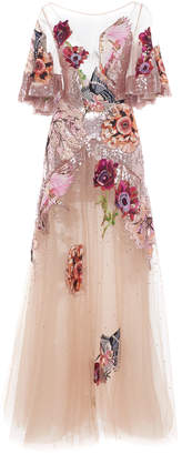 Temperley London Petal Sequined Embroidered Tulle Gown