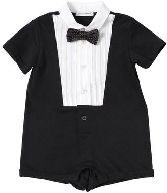 Dolce & Gabbana Cotton Jersey & Poplin Romper W/ Bowtie