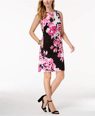 Nine West Floral Printed Keyhole Shift Dress