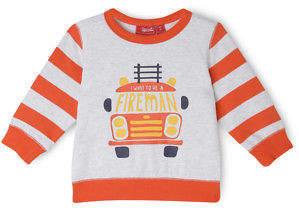 Sprout NEW BOYS ESS TBL CREW NECK SWEAT - FIREMAN/ GREY MARLE & RED