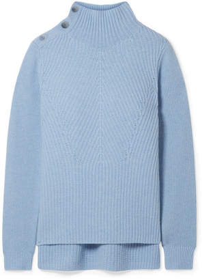 Veronica Beard Rama Ribbed Merino Wool And Cashmere-blend Turtleneck Sweater - Sky blue
