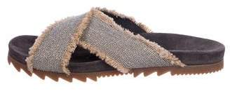 Brunello Cucinelli Monili Crossover Slide Sandals