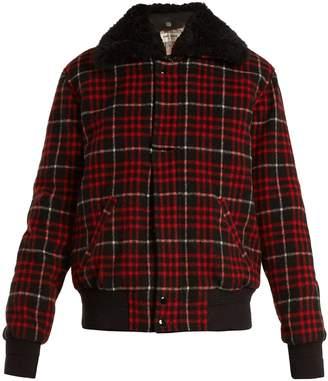 Saint Laurent Checked wool-blend bomber jacket