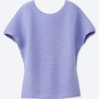 Uniqlo WOMEN 3D Cotton Boat Neck Short Sleeve Sweater