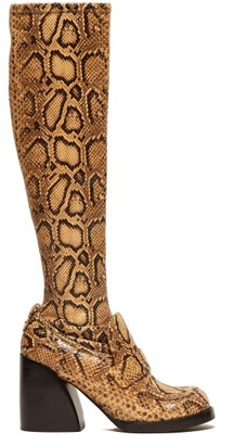Chloé Adelie Python Effect Leather Knee High Boots - Womens - Black Yellow