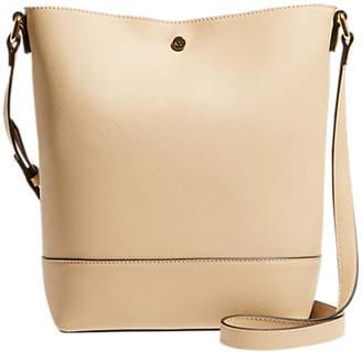 Karen Millen Faux Saffiano Bucket Bag, Nude