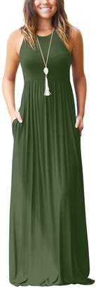 Zilcremo Women Casual Sleeveless Tank Solid Fit And Flare Maxi Party Dress M